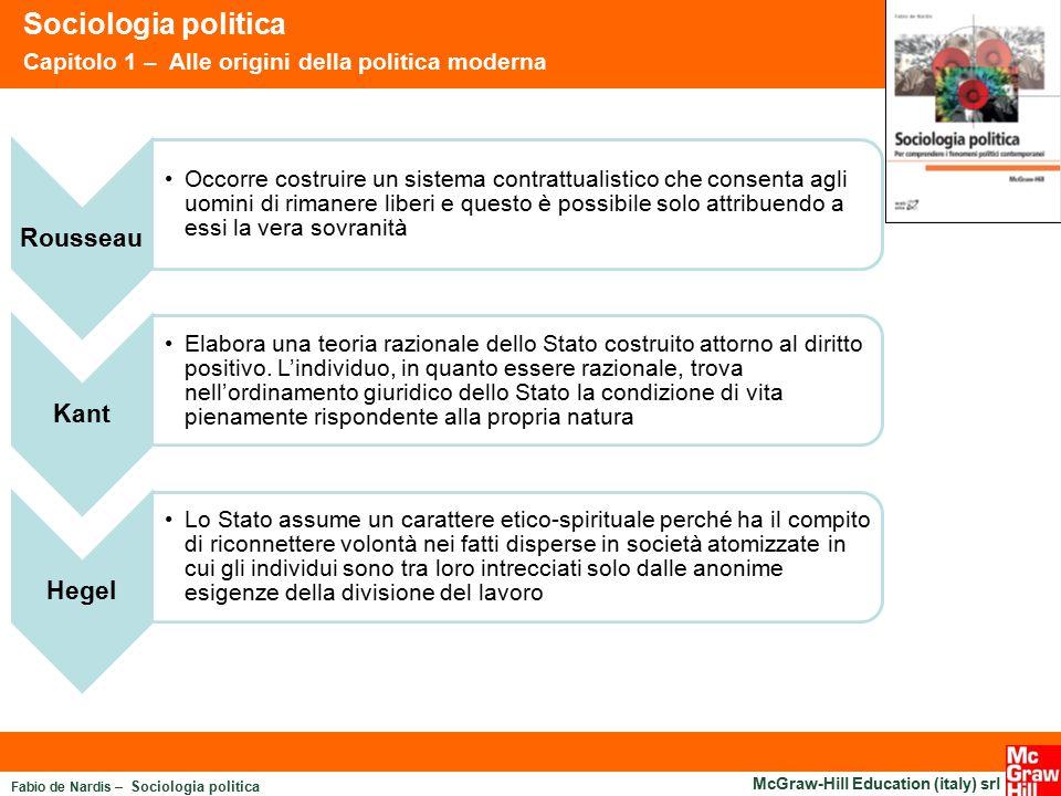 Fabio de Nardis – Sociologia politica McGraw-Hill Education (italy) srl Sociologia politica Capitolo 1 – Alle origini della politica moderna Rousseau
