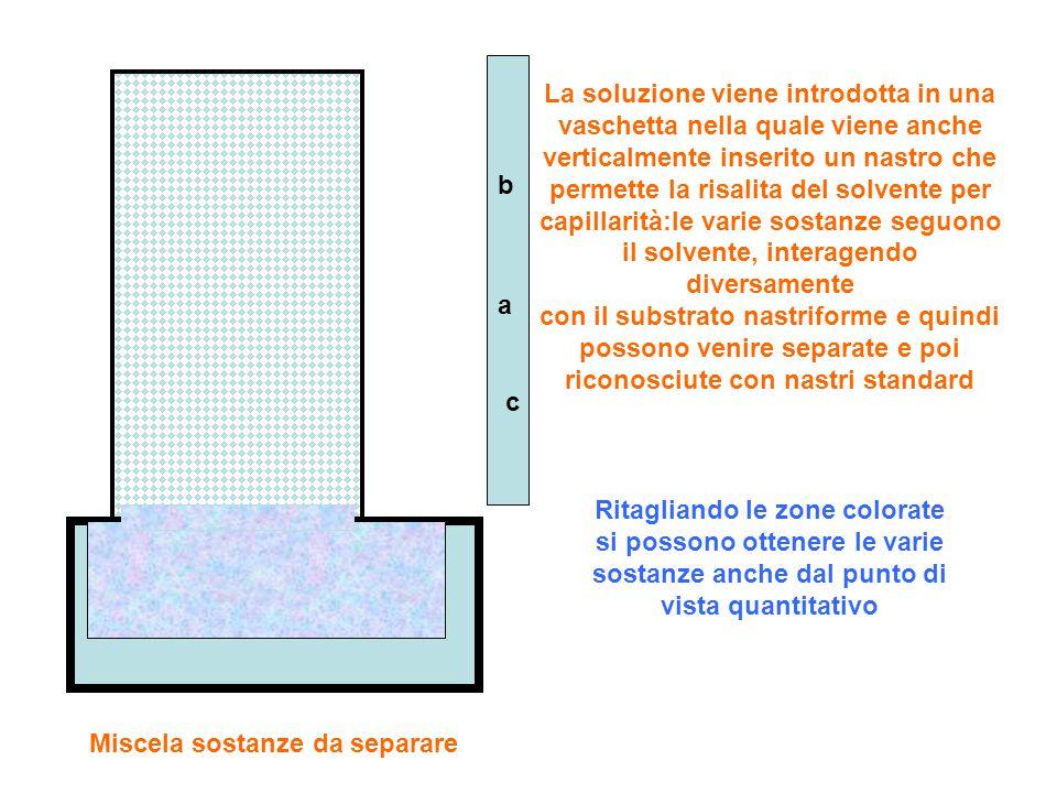 Miscela sostanze da separare La soluzione viene introdotta in una vaschetta nella quale viene anche verticalmente inserito un nastro che permette la risalita del solvente per capillarità:le varie sostanze seguono il solvente, interagendo diversamente con il substrato nastriforme e quindi possono venire separate e poi riconosciute con nastri standard a b c Ritagliando le zone colorate si possono ottenere le varie sostanze anche dal punto di vista quantitativo