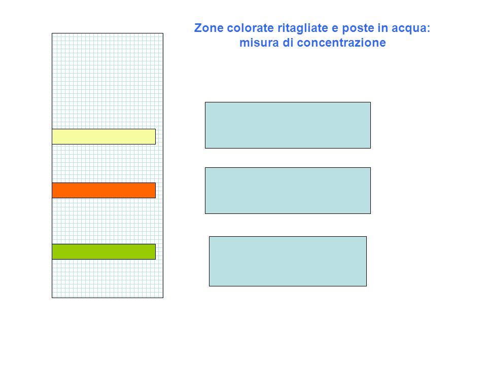 Zone colorate ritagliate e poste in acqua: misura di concentrazione