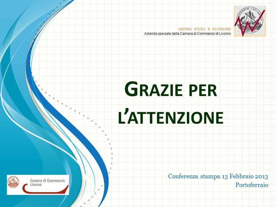 G RAZIE PER L ' ATTENZIONE Conferenza stampa 13 Febbraio 2013 Portoferraio CENTRO STUDI E RICERCHE Azienda speciale della Camera di Commercio di Livorno