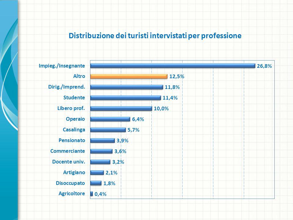 Distribuzione dei turisti intervistati per professione