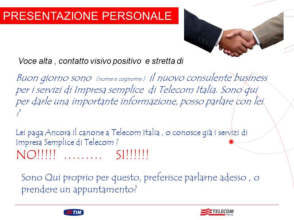 GRUPPO TELECOM ITALIA PRESENTAZIONE PERSONALE Voce alta, contatto visivo positivo e stretta di mano energetica. Buon giorno sono (nome e cognome ) il