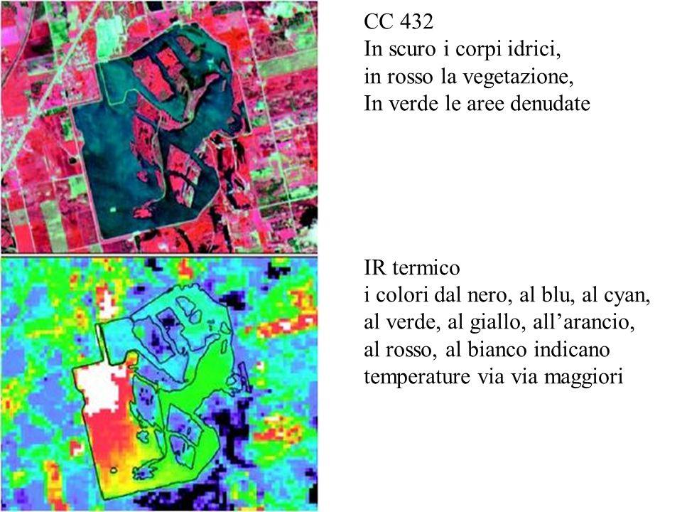 CC 432 In scuro i corpi idrici, in rosso la vegetazione, In verde le aree denudate IR termico i colori dal nero, al blu, al cyan, al verde, al giallo, all'arancio, al rosso, al bianco indicano temperature via via maggiori
