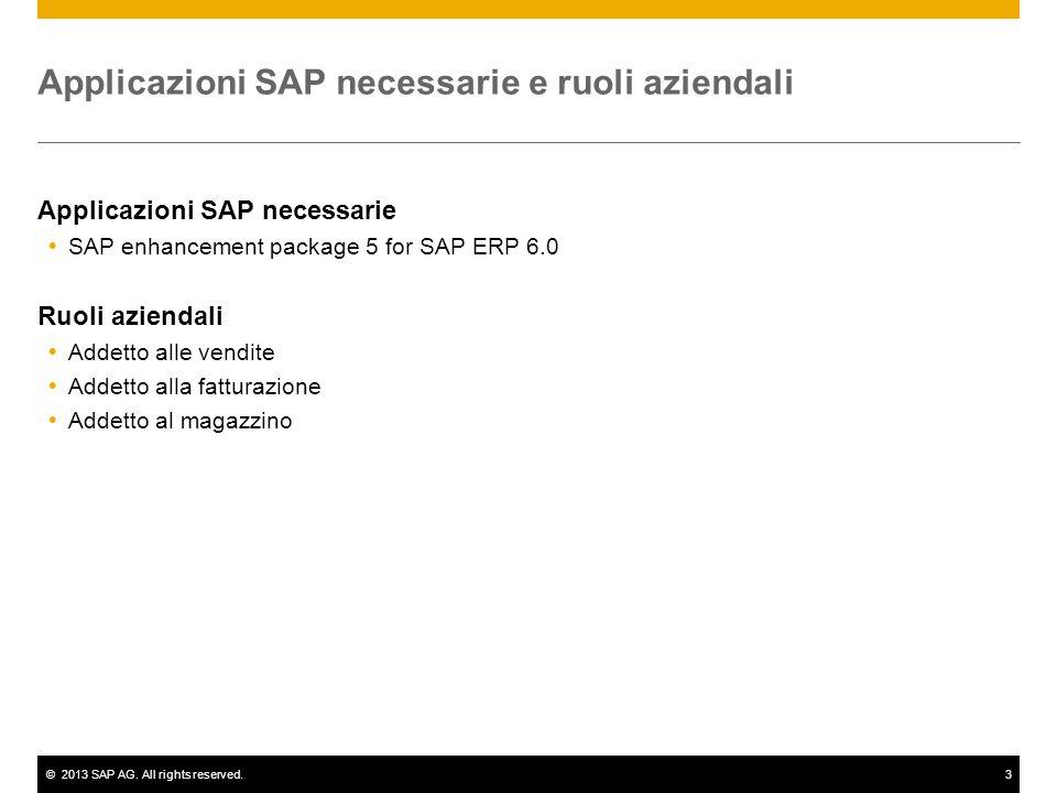 ©2013 SAP AG. All rights reserved.3 Applicazioni SAP necessarie e ruoli aziendali Applicazioni SAP necessarie  SAP enhancement package 5 for SAP ERP