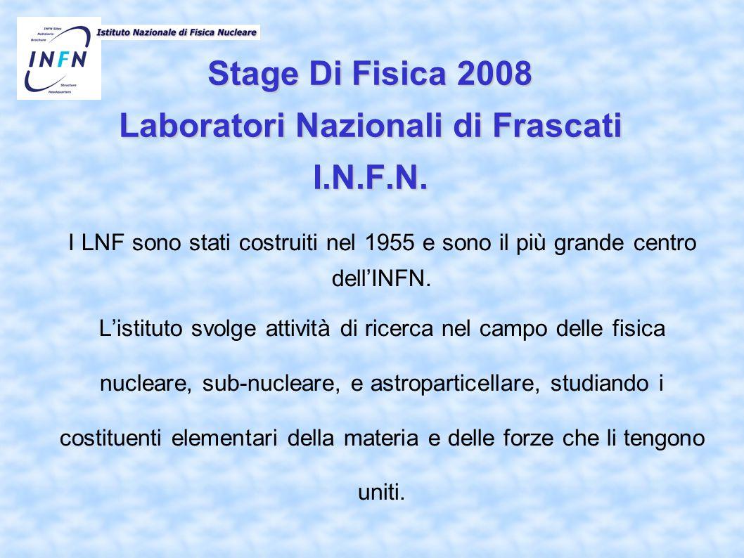 Stage Di Fisica 2008 Laboratori Nazionali di Frascati I.N.F.N. I LNF sono stati costruiti nel 1955 e sono il più grande centro dell'INFN. L'istituto s