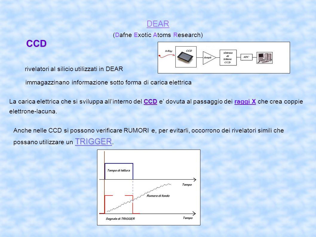 CCD DEAR (Dafne Exotic Atoms Research) rivelatori al silicio utilizzati in DEAR immagazzinano informazione sotto forma di carica elettrica CCD La carica elettrica che si sviluppa all'interno del CCD e' dovuta al passaggio dei raggi X che crea coppie elettrone-lacuna.