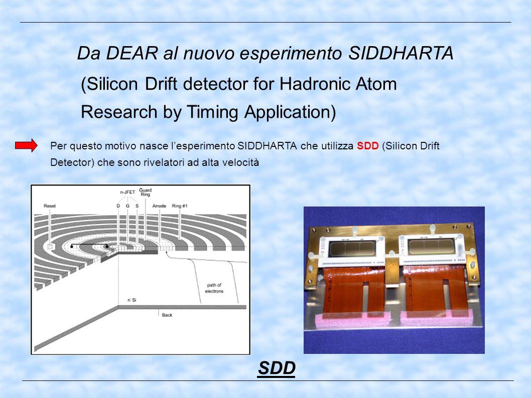 Da DEAR al nuovo esperimento SIDDHARTA Per questo motivo nasce l'esperimento SIDDHARTA che utilizza SDD (Silicon Drift Detector) che sono rivelatori ad alta velocità (Silicon Drift detector for Hadronic Atom Research by Timing Application) SDD
