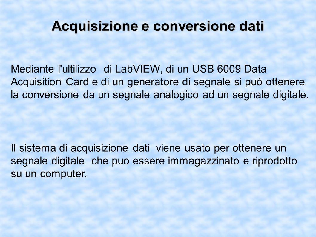 Acquisizione e conversione dati Mediante l ultilizzo di LabVIEW, di un USB 6009 Data Acquisition Card e di un generatore di segnale si può ottenere la conversione da un segnale analogico ad un segnale digitale.