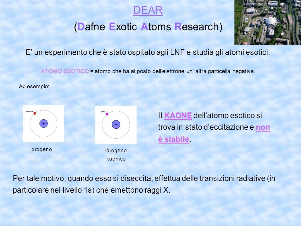 DEAR (Dafne Exotic Atoms Research) E' un esperimento che è stato ospitato agli LNF e studia gli atomi esotici. ATOMO ESOTICO ATOMO ESOTICO = atomo ch
