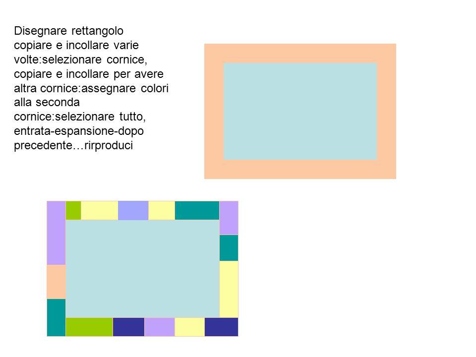 Disegnare rettangolo copiare e incollare varie volte:selezionare cornice, copiare e incollare per avere altra cornice:assegnare colori alla seconda cornice:selezionare tutto, entrata-espansione-dopo precedente…rirproduci
