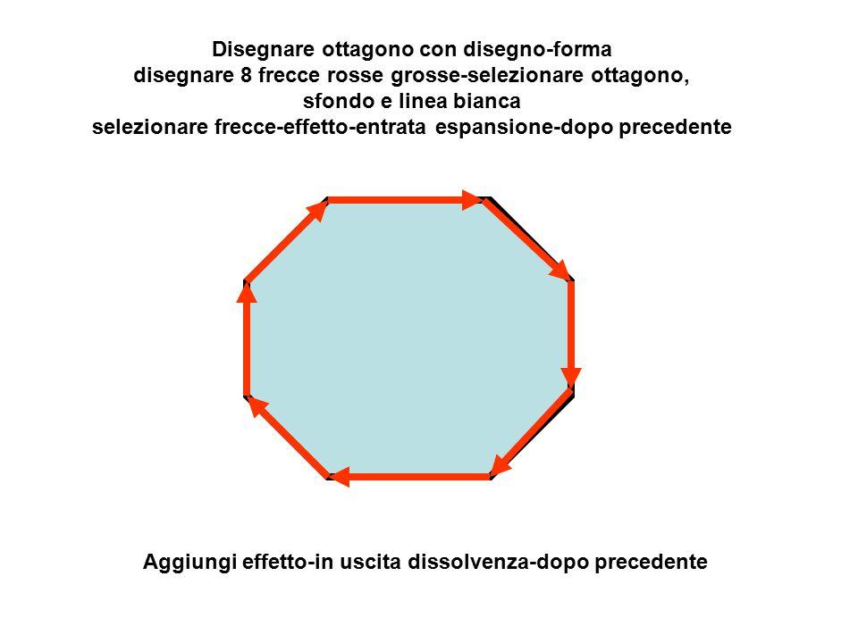 Disegnare ottagono con disegno-forma disegnare 8 frecce rosse grosse-selezionare ottagono, sfondo e linea bianca selezionare frecce-effetto-entrata espansione-dopo precedente Aggiungi effetto-in uscita dissolvenza-dopo precedente