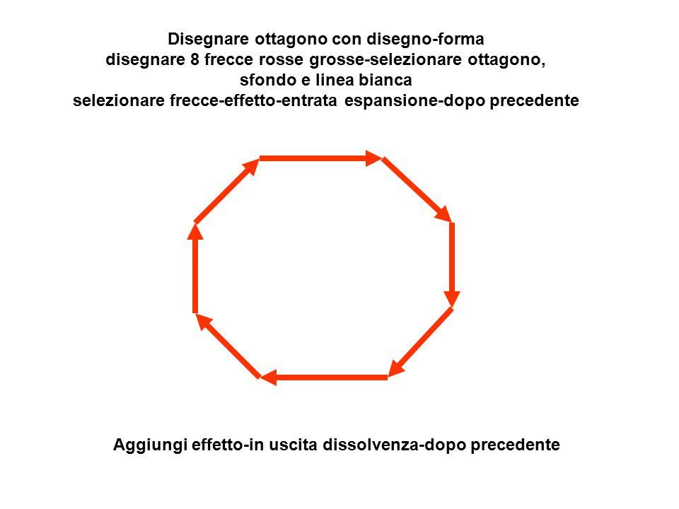 Disegnare ottagono con disegno-forma disegnare 8 frecce rosse grosse-selezionare ottagono, sfondo e linea bianca selezionare frecce-effetto-entrata es