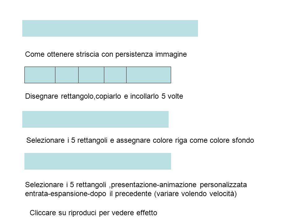 Come ottenere striscia con persistenza immagine Disegnare rettangolo,copiarlo e incollarlo 5 volte Selezionare i 5 rettangoli e assegnare colore riga come colore sfondo Selezionare i 5 rettangoli,presentazione-animazione personalizzata entrata-espansione-dopo il precedente (variare volendo velocità) Cliccare su riproduci per vedere effetto