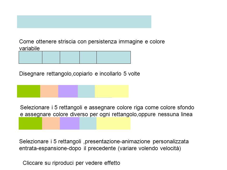 Come ottenere striscia con persistenza immagine e colore variabile Disegnare rettangolo,copiarlo e incollarlo 5 volte Selezionare i 5 rettangoli e assegnare colore riga come colore sfondo e assegnare colore diverso per ogni rettangolo,oppure nessuna linea Selezionare i 5 rettangoli,presentazione-animazione personalizzata entrata-espansione-dopo il precedente (variare volendo velocità) Cliccare su riproduci per vedere effetto