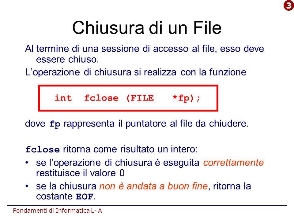 Fondamenti di Informatica L- A Chiusura di un File Al termine di una sessione di accesso al file, esso deve essere chiuso. L'operazione di chiusura si