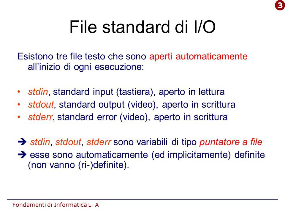 Fondamenti di Informatica L- A File standard di I/O Esistono tre file testo che sono aperti automaticamente all'inizio di ogni esecuzione: stdin, standard input (tastiera), aperto in lettura stdout, standard output (video), aperto in scrittura stderr, standard error (video), aperto in scrittura  stdin, stdout, stderr sono variabili di tipo puntatore a file  esse sono automaticamente (ed implicitamente) definite (non vanno (ri-)definite).