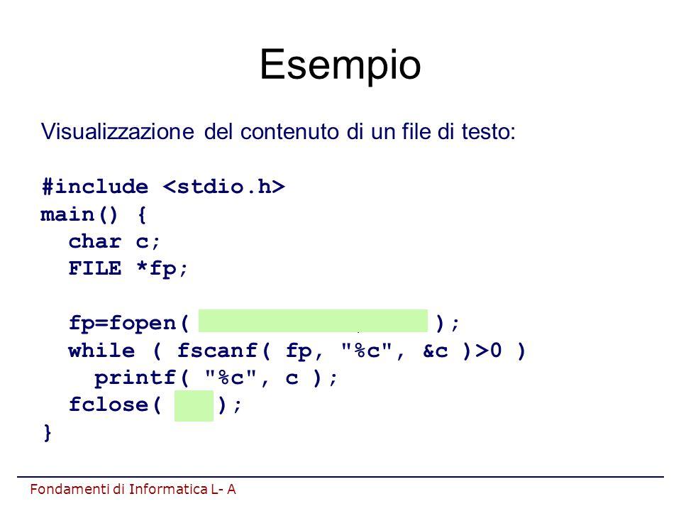 Fondamenti di Informatica L- A Esempio Visualizzazione del contenuto di un file di testo: #include main() { char c; FILE *fp; fp=fopen( testo.txt , r ); while ( fscanf( fp, %c , &c )>0 ) printf( %c , c ); fclose( fp ); }
