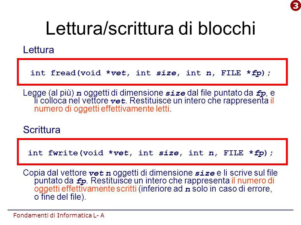 Fondamenti di Informatica L- A Lettura/scrittura di blocchi Lettura int fread(void *vet, int size, int n, FILE *fp); Legge (al più) n oggetti di dimen