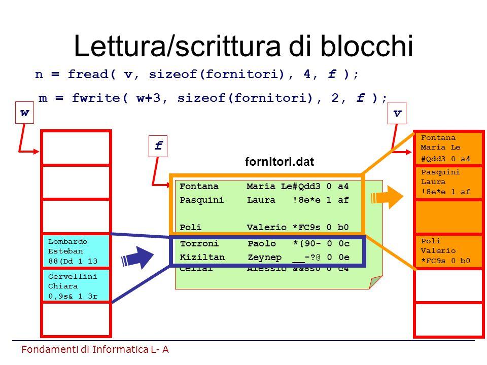 Fondamenti di Informatica L- A Lettura/scrittura di blocchi Fontana Maria Le#Qdd3 0 a4 Pasquini Laura !8e*e 1 af Poli Valerio *FC9s 0 b0 Lombardo Esteban 88(Dd 1 13 Cervellini Chiara 0,9s& 1 3r Cellai Alessio &&8s0 0 c4 fornitori.dat n = fread( v, sizeof(fornitori), 4, f ); f Fontana Maria Le #Qdd3 0 a4 Pasquini Laura !8e*e 1 af Poli Valerio *FC9s 0 b0 v m = fwrite( w+3, sizeof(fornitori), 2, f ); Lombardo Esteban 88(Dd 1 13 Cervellini Chiara 0,9s& 1 3r w Torroni Paolo *{90- 0 0c Kiziltan Zeynep __-?@ 0 0e