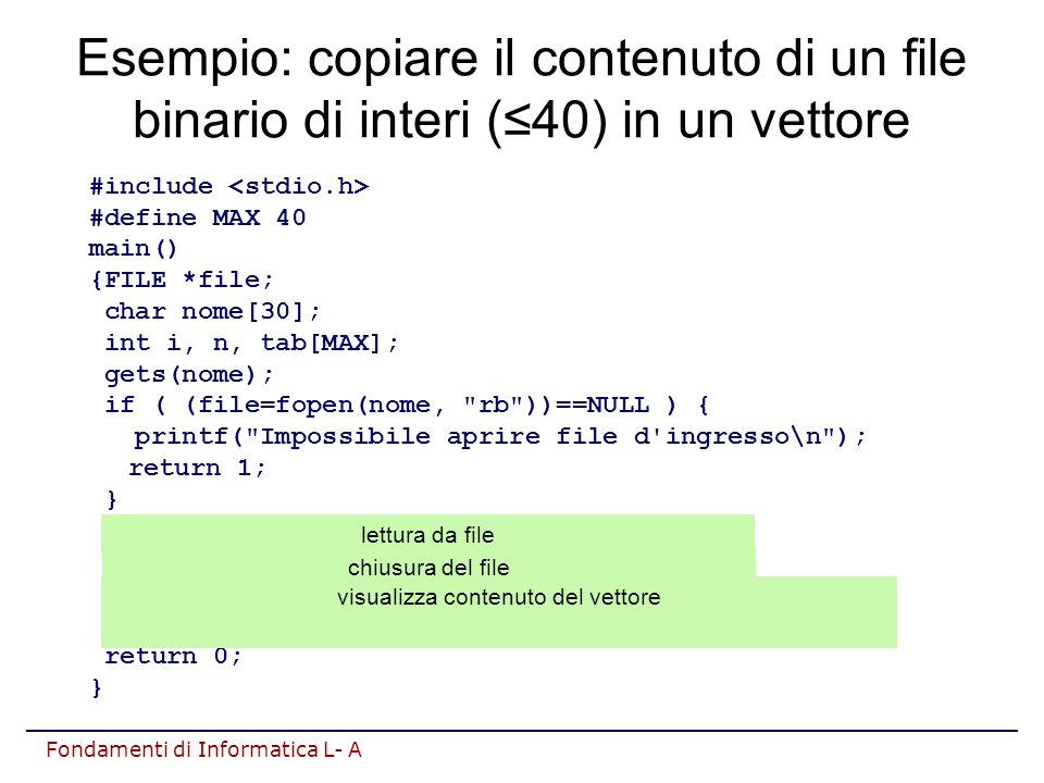 Fondamenti di Informatica L- A Esempio: copiare il contenuto di un file binario di interi (≤40) in un vettore #include #define MAX 40 main() {FILE *file; char nome[30]; int i, n, tab[MAX]; gets(nome); if ( (file=fopen(nome, rb ))==NULL ) { printf( Impossibile aprire file d ingresso\n ); return 1; } n=fread(tab, sizeof(int), MAX, file); fclose(file); for(i=0;i<n;i++) printf( %d%c , tab[i], (i==n-1) .
