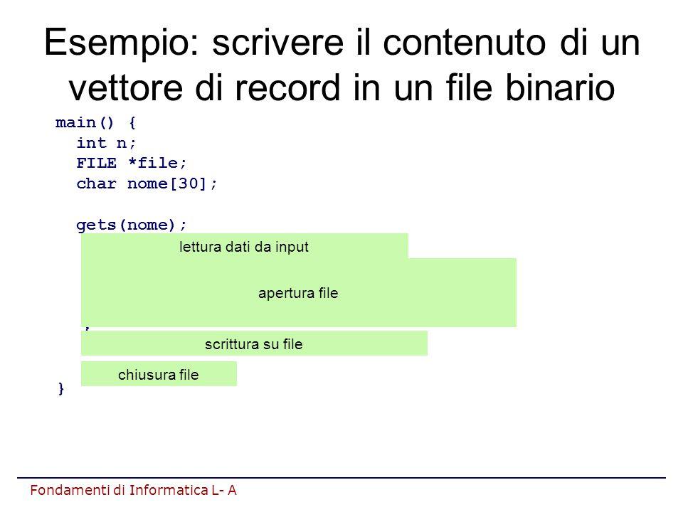 Fondamenti di Informatica L- A Esempio: scrivere il contenuto di un vettore di record in un file binario main() { int n; FILE *file; char nome[30]; gets(nome); n=crea_vettore(P,DIM); if ( (file=fopen(nome, wb ))==NULL ) { printf( Impossibile aprire file\n ); return 1; } fwrite(P,sizeof(Persona),n,file); fclose(file); } apertura file scrittura su file chiusura file lettura dati da input