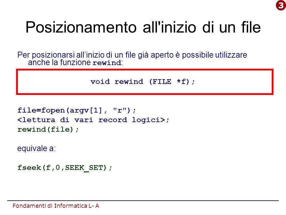 Fondamenti di Informatica L- A Posizionamento all inizio di un file Per posizionarsi all'inizio di un file già aperto è possibile utilizzare anche la funzione rewind : void rewind (FILE *f); file=fopen(argv[1], r ); ; rewind(file); equivale a: fseek(f,0,SEEK_SET); 3
