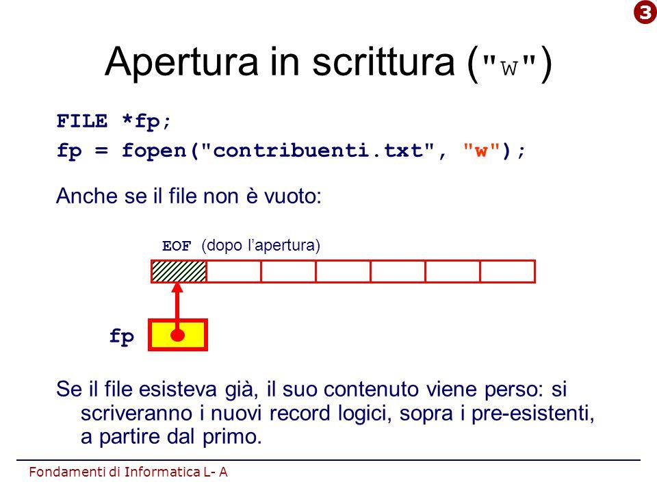 Fondamenti di Informatica L- A Apertura in scrittura ( w ) FILE *fp; fp = fopen( contribuenti.txt , w ); Anche se il file non è vuoto: Se il file esisteva già, il suo contenuto viene perso: si scriveranno i nuovi record logici, sopra i pre-esistenti, a partire dal primo.