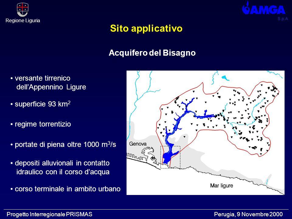 S.p.A Regione Liguria Progetto Interregionale PRISMAS Perugia, 9 Novembre 2000 Acquifero del Bisagno versante tirrenico dell'Appennino Ligure superfic