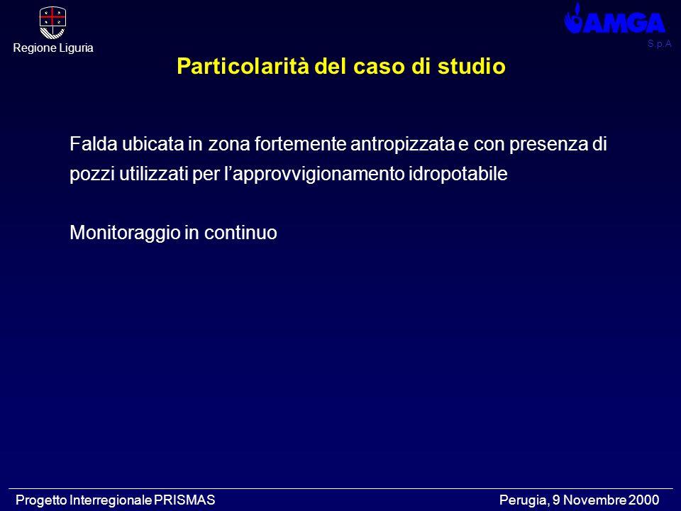 S.p.A Regione Liguria Progetto Interregionale PRISMAS Perugia, 9 Novembre 2000 Falda ubicata in zona fortemente antropizzata e con presenza di pozzi utilizzati per l'approvvigionamento idropotabile Monitoraggio in continuo Particolarità del caso di studio
