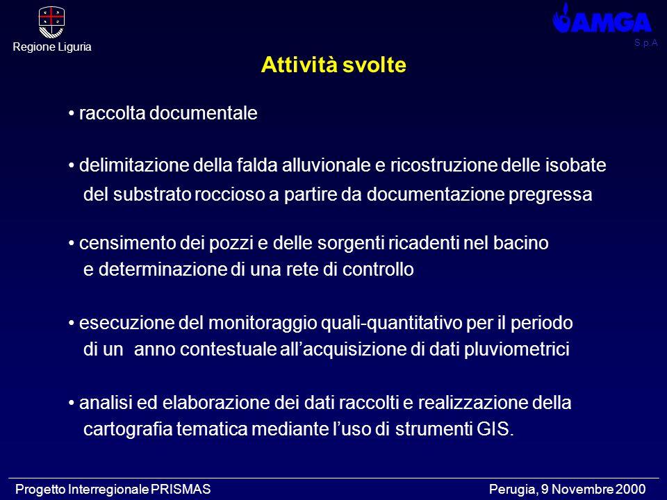S.p.A Regione Liguria Progetto Interregionale PRISMAS Perugia, 9 Novembre 2000 Raccolta documentale Indagine sulla potenzialità della falda di subalveo del torrente Bisagno, per un corretto sfruttamento idropotabile AMGA e Hydro Co.