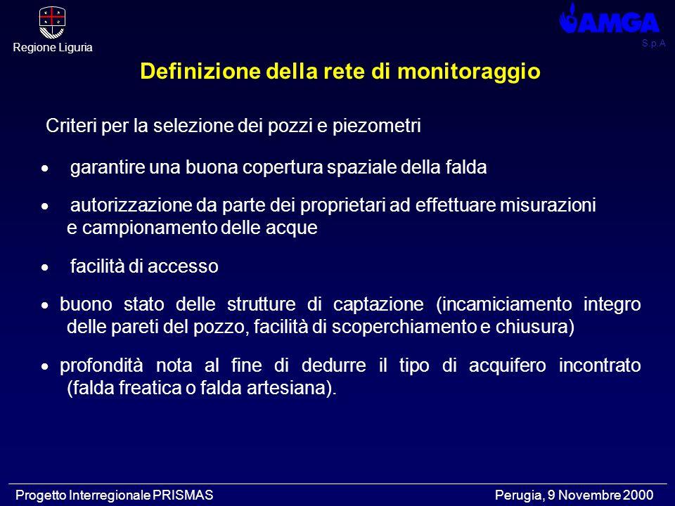S.p.A Regione Liguria Progetto Interregionale PRISMAS Perugia, 9 Novembre 2000 Definizione della rete di monitoraggio Criteri per la selezione dei pozzi e piezometri  garantire una buona copertura spaziale della falda  autorizzazione da parte dei proprietari ad effettuare misurazioni e campionamento delle acque  facilità di accesso  buono stato delle strutture di captazione (incamiciamento integro delle pareti del pozzo, facilità di scoperchiamento e chiusura)  profondità nota al fine di dedurre il tipo di acquifero incontrato (falda freatica o falda artesiana).
