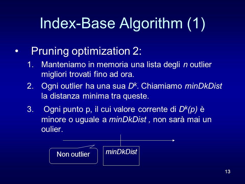 13 Index-Base Algorithm (1) Pruning optimization 2: 1.Manteniamo in memoria una lista degli n outlier migliori trovati fino ad ora. 2.Ogni outlier ha