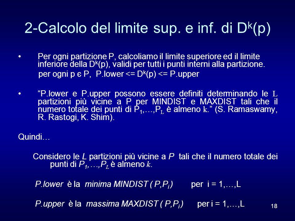 18 2-Calcolo del limite sup. e inf. di D k (p) Per ogni partizione P, calcoliamo il limite superiore ed il limite inferiore della D k (p), validi per