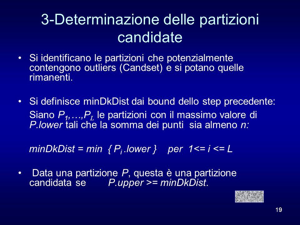 19 3-Determinazione delle partizioni candidate Si identificano le partizioni che potenzialmente contengono outliers (Candset) e si potano quelle rimanenti.