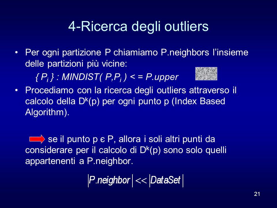 21 4-Ricerca degli outliers Per ogni partizione P chiamiamo P.neighbors l'insieme delle partizioni più vicine: { P i } : MINDIST( P,P i ) < = P.upper Procediamo con la ricerca degli outliers attraverso il calcolo della D k (p) per ogni punto p (Index Based Algorithm).
