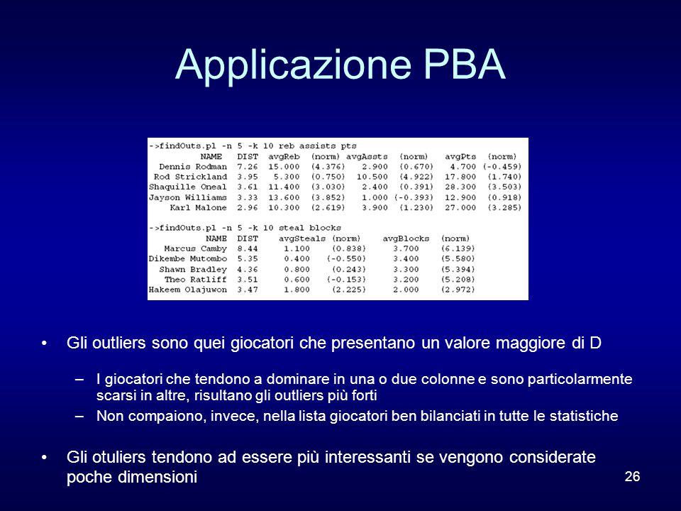 26 Applicazione PBA Gli outliers sono quei giocatori che presentano un valore maggiore di D –I giocatori che tendono a dominare in una o due colonne e