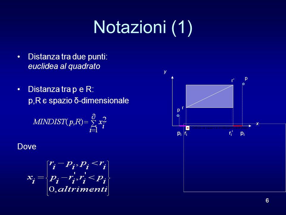 6 Notazioni (1) Distanza tra due punti: euclidea al quadrato Distanza tra p e R: p,R є spazio δ-dimensionale Dove p r r' p x y p i r i r i ' p i