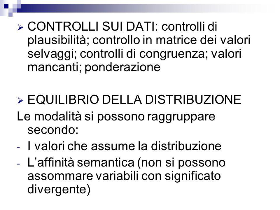  CONTROLLI SUI DATI: controlli di plausibilità; controllo in matrice dei valori selvaggi; controlli di congruenza; valori mancanti; ponderazione  EQ