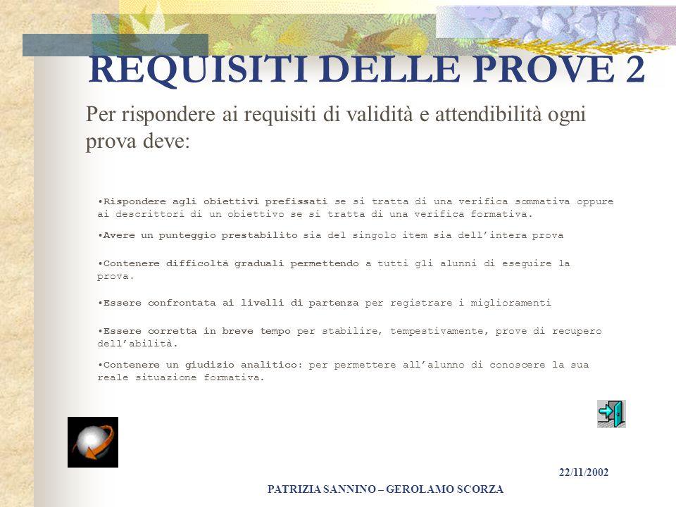PATRIZIA SANNINO – GEROLAMO SCORZA 22/11/2002 REQUISITI DELLE PROVE 1 Ogni tipo di prova deve rispondere ai seguenti requisiti: VALIDITÀ: in quanto deve essere rispondente all'obiettivo da perseguire.