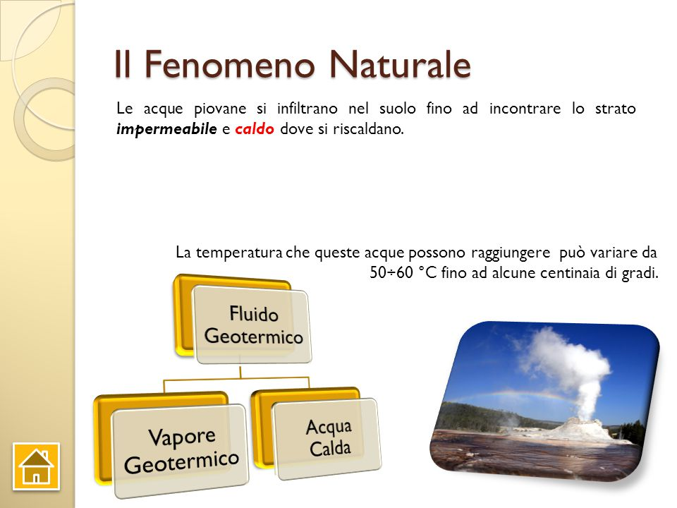 Energia Geotermica Un giacimento geotermico nasce dove la crosta terrestre comprende zone calde relativamente vicine alla superficie, là dove si trova