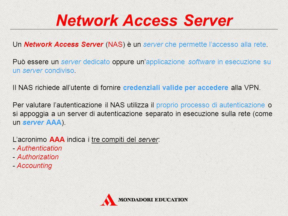 Network Access Server Un Network Access Server (NAS) è un server che permette l'accesso alla rete. Può essere un server dedicato oppure un'applicazion