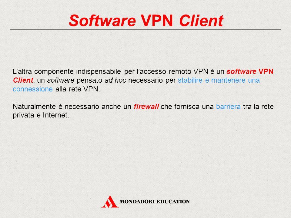 Software VPN Client L'altra componente indispensabile per l'accesso remoto VPN è un software VPN Client, un software pensato ad hoc necessario per sta