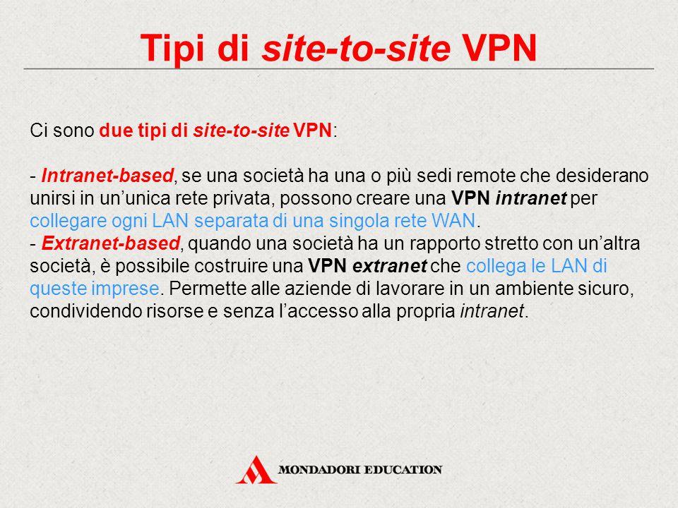Tipi di site-to-site VPN Ci sono due tipi di site-to-site VPN: - Intranet-based, se una società ha una o più sedi remote che desiderano unirsi in un'u