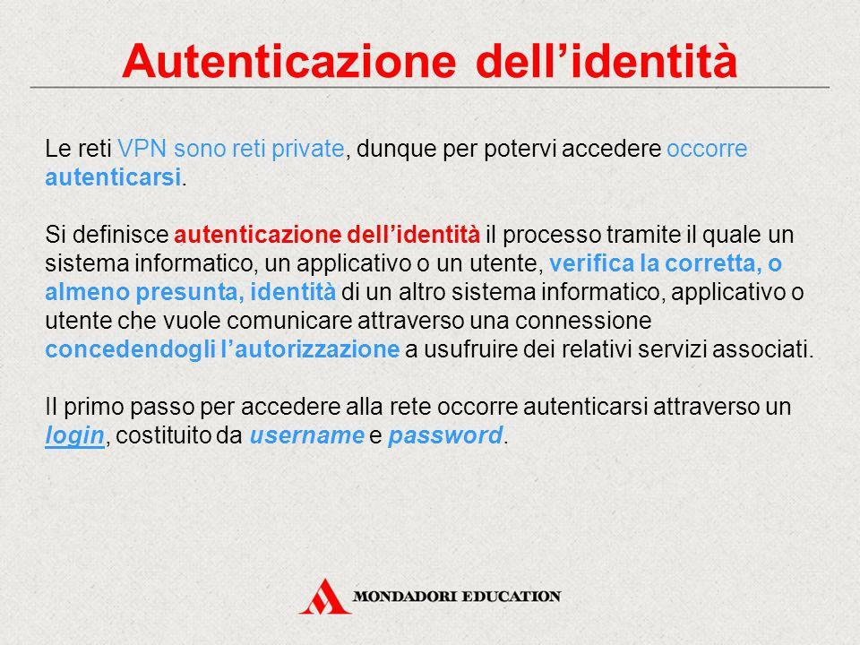 Autenticazione dell'identità Le reti VPN sono reti private, dunque per potervi accedere occorre autenticarsi. Si definisce autenticazione dell'identit