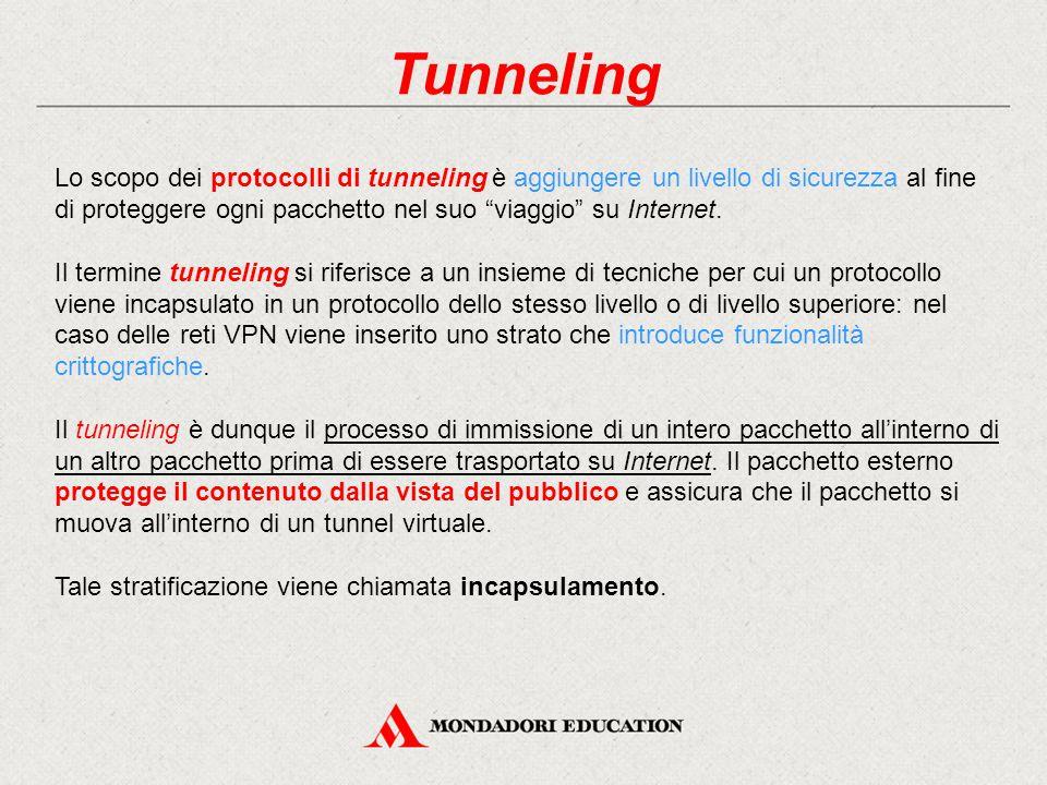 """Tunneling Lo scopo dei protocolli di tunneling è aggiungere un livello di sicurezza al fine di proteggere ogni pacchetto nel suo """"viaggio"""" su Internet"""