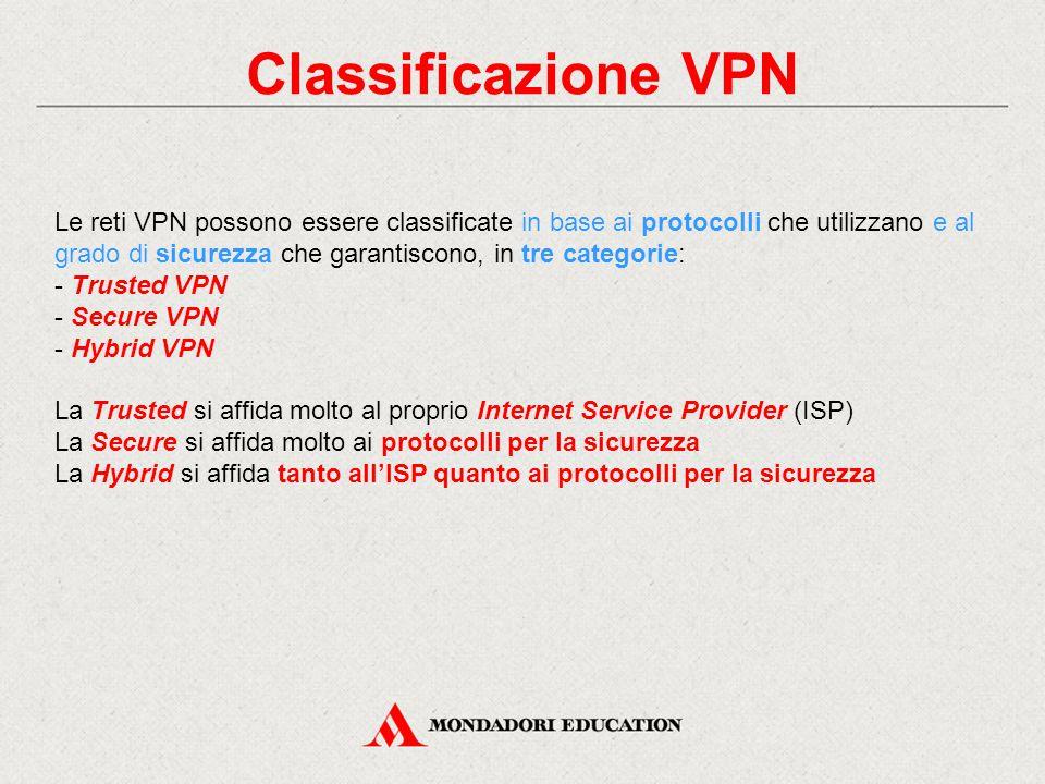 Classificazione VPN Le reti VPN possono essere classificate in base ai protocolli che utilizzano e al grado di sicurezza che garantiscono, in tre cate