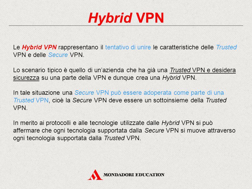 Hybrid VPN Le Hybrid VPN rappresentano il tentativo di unire le caratteristiche delle Trusted VPN e delle Secure VPN. Lo scenario tipico è quello di u