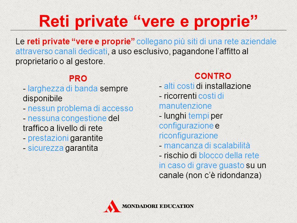 """Reti private """"vere e proprie"""" Le reti private """"vere e proprie"""" collegano più siti di una rete aziendale attraverso canali dedicati, a uso esclusivo, p"""