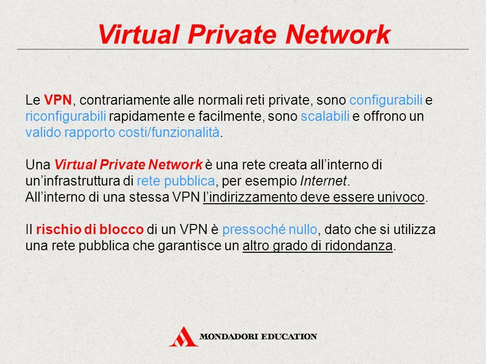 Virtual Private Network Le VPN, contrariamente alle normali reti private, sono configurabili e riconfigurabili rapidamente e facilmente, sono scalabil