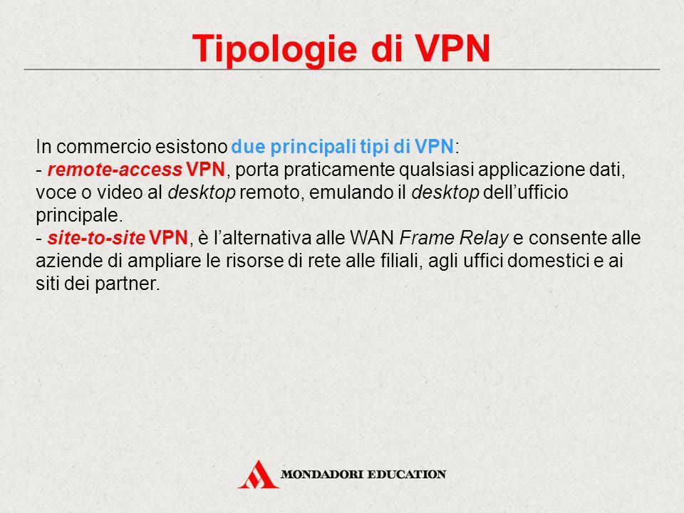 Tipologie di VPN In commercio esistono due principali tipi di VPN: - remote-access VPN, porta praticamente qualsiasi applicazione dati, voce o video a